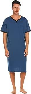 Men's Nightshirt Nightwear Comfy Big&Tall Short Sleeve Henley Sleep Shirt