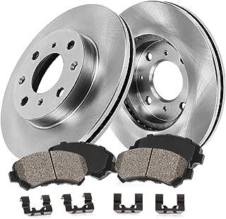 CRK11146 FRONT 258 mm Premium OE 4 Lug [2] Brake Disc Rotors + [4] Ceramic Brake Pads + Hardware