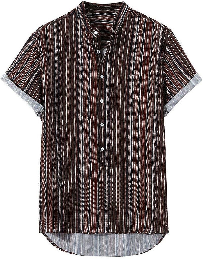 Fanteecy Mens Linen Henley Shirts Hippie Beach Short Sleeve Cotton Tops Lightweight Tees Plain Summer Striped T Shirt