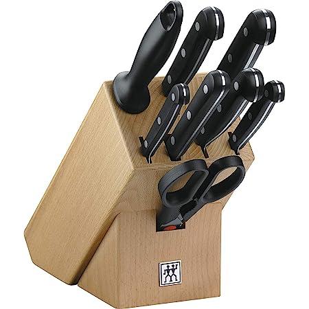 ZWILLING Bloc de Couteaux, 9 Pièces, Bloc en Bois, Couteaux & Ciseaux en Acier Inoxydable Spécial/Manche Plastique, Twin Gourmet