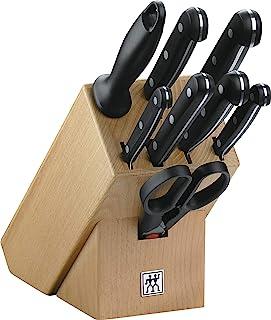 ZWILLING Messerblock, 9-tlg., Holzblock, Messer und Schere aus rostfreiem Spezialstahl/Kunststoff-Griff, Twin Gourmet
