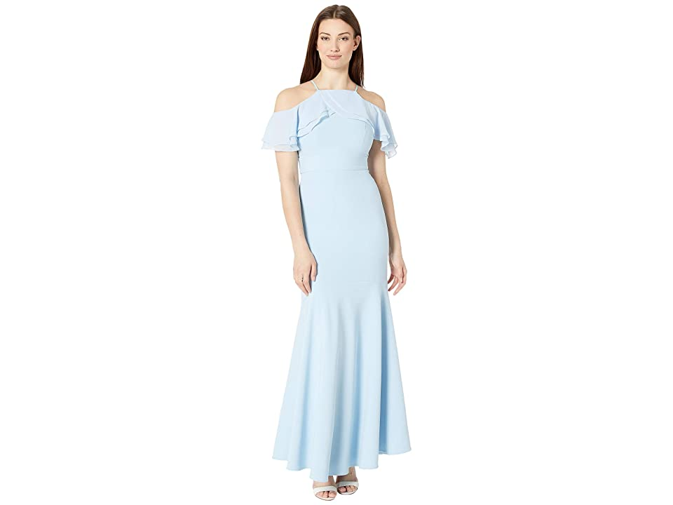 Laundry by Shelli Segal Long Chiffon Gown (Powder Blue) Women