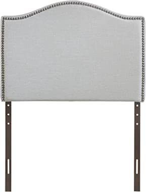 Modway Curl Linen Fabric Upholstered Twin Headboard with Nailhead Trim and Curved Shape in Gray