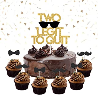 Two Legit to Quit Party Decorations - Two Legit to Quit Cake Topper Mustache Bow Tie Cupcake Toppers for 2nd Birthday Party Supplies