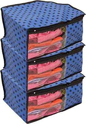 Kuber Industries 3 Piece Non Woven Blouse Cover Set, Blue