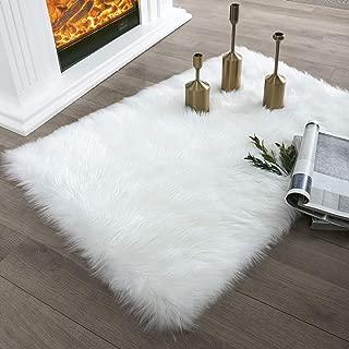 Ashler Faux Fur White Rectangle Area Rug Indoor Ultra Soft Fluffy Bedroom Floor Sofa Living Room 2 x 3 Feet