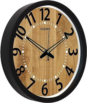 Amazon Brand - Solimo 12-inch Wall Clock - Bold Numerals (Silent Movement, Black Frame)