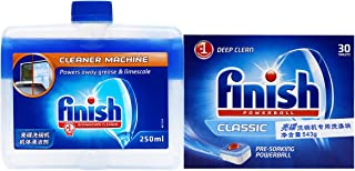 Finish 亮碟 洗碗機專用洗滌塊543g(內含30塊獨立包裝)+洗碗機機體清潔劑250ml(進口)