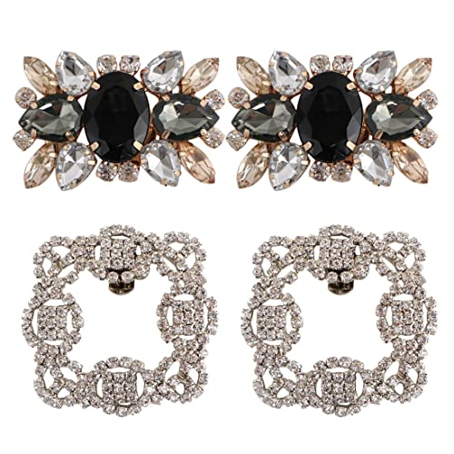 kilofly 2 Pairs Elegant Rhinestone Crystal Metal Shoe Clips Wedding Party  Pack bb474cfc9d8e