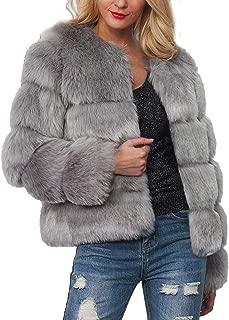 Womens Ladies Warm Faux Fur Coat Jacket Solid Winter Gradient Parka Outerwear