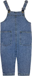 Unisex Kids Adjustable Strap Denim Bib Overalls Comfy Stretch Jumpsuits Rompers Toddler Little Boys Girls Long Jeans Pant