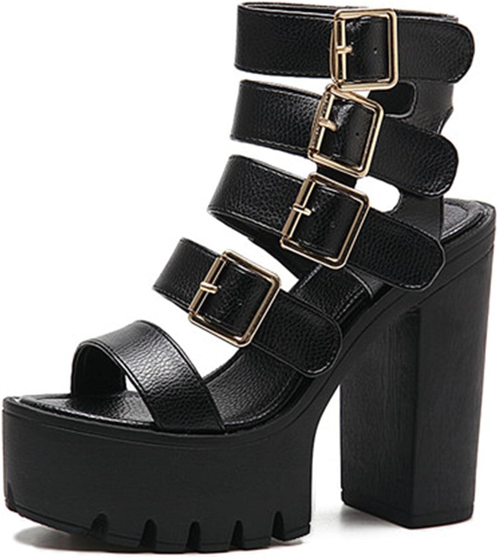 Jeff Tribble Women Sandals High Heels Fashion Buckle Platform shoes Black Size 35-40