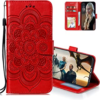 MEIKONST Case for Honor Play 4T Pro, Red Mandala Embossing Luxury PU Leather Flip Wallet Bookstyle with Stand Card Holder ...