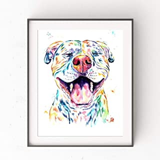 Smiling Pitbull Wall Art by Whitehouse Art | Pitbull Painting, Dog Wall Art, Dog Picture | Professional Print of Smiling Pitbull Original Watercolor | Dog Lover Gifts | 6 Sizes