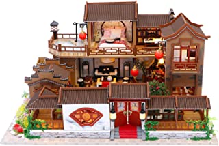 TANLITA Miniature DIY Dollhouse Kit, Wooden Model House with Music Movement and LED and Dust Cover, DIY Miniature Furnitur...
