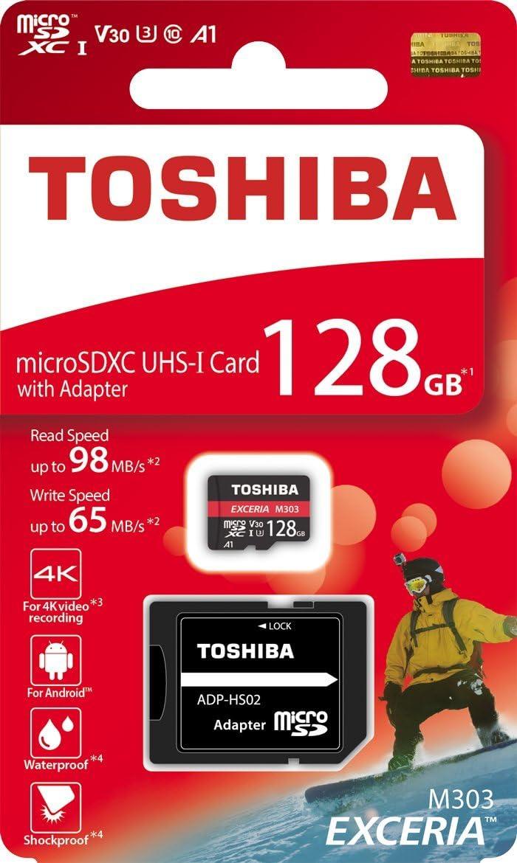 Toshiba 128GB 128G EXCERIA M303 with SD Adapter microSDXC UHS-I U3 Card 4K Class10 V30 A1 microSD micro SD Card Memory Card Read 98MB/s Write 65MB/s ( THN-M303R1280A2 )