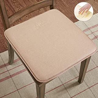 Big Hippo Chair Pads,Memory Foam Chair Seat Cushion with Ties Soft Thicken Seat Padding for Home,Office Square Chair Cushion 16 x 16 Beige