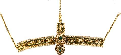 Jewel India Ethnic Traditional Wedding Bridal Gold Party-wear Kundan Pearl CZ Indian Maang Tikka Matha Patti Head Jewelry for Women Green