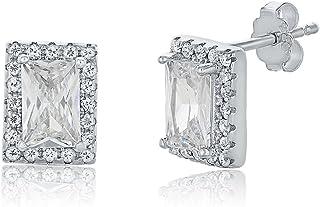Montage Jewelry Women's Sterling Silver & Cubic Zirconia Princess Earrings