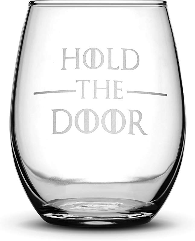 Integrity Bottles Premium Game Of Thrones Wine Glass Hold The Door Hand Etched 14 2 Oz Stemless Gifts Made In USA Sand Carved