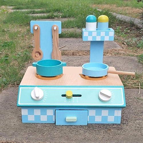 RenshenX Cuisine Enfant,Ustensiles de Cuisine de Simulation, Jouets en Bois de Bricolage, cuisinière à gaz, 55  30  42CM, Bleu,Barbecue Jouet Accessoires