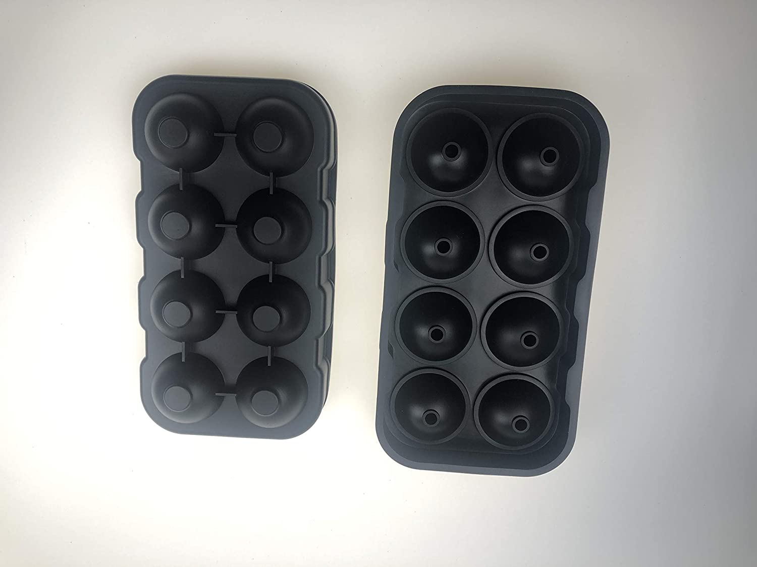 Silicone Ice Cube Trays Combo Round Ice Ball Spheres Ice Cube Tray Mold (6 Round Ice Ball Black): Kitchen & Dining