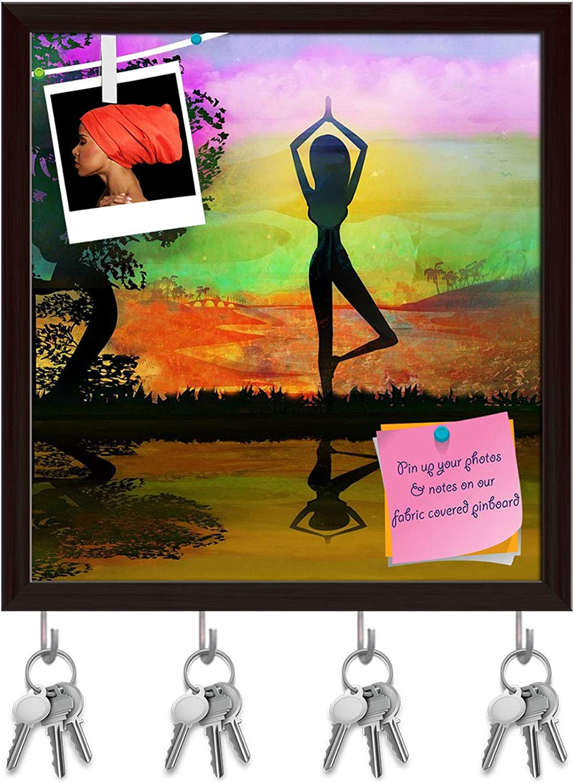 Artzfolio Girl in Yoga Pose Key Holder Hooks   Notice Pin Board   Dark Brown Frame 6 X 6.4Inch