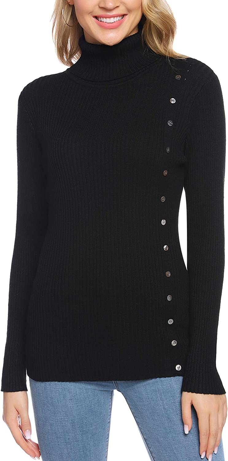 Women's Long Sleeve Solid Mock Turtleneck Buttons Sweater Pullover Slim Layer Tops