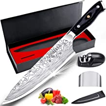 """MOSFiATA 8"""" Super Sharp Professional Chef's Knife with Finger Guard and Knife Sharpener, German High Carbon Stainless Stee..."""