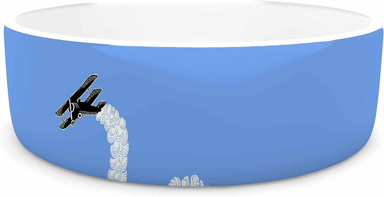 KESS InHouse Barmalisirtb Aircraft Smoke  bluee White Pet Bowl, 7