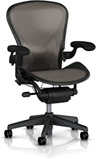 Herman Miller Aeron Chair Highly Adjustable with PostureFit Lumbar Support and Black Leather Arms - Large Size (C) Graphite Dark Frame, Classic Lead Pellicle Mesh Home Office Desk Task Chair