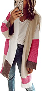 Angashion Women's Color Block Kimono Cardigan Long Sleeve Open Front Patchwork Knit Sweaters Outerwear Coat