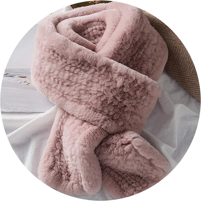 Glittering timeCA Women's Real Fur Scarf High Quality Luxury Big Long Natural Rex Rabbit Fur Scarves,pink,170cm