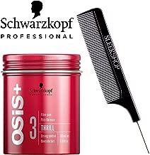 Schwarzkopf OSIS + THRILL 3 Texture FIBER GUM, Strong Control (with Sleek Steel Pin Tail Comb) (3.38 oz/100 ml)