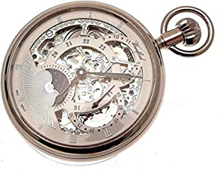 Silver Coloured Mechanical Skeleton Pocket Watch with Sun and Moon and Dual time Zone Features