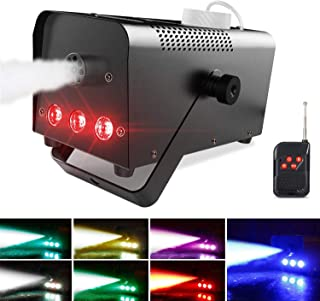 Theefun Halloween Fog Machine with Lights - 3 Stage LED Lights with 7 Colors & Strobe Effect for Party Wedding Holiday, Portable Wireless Remote Control Smoke Machine