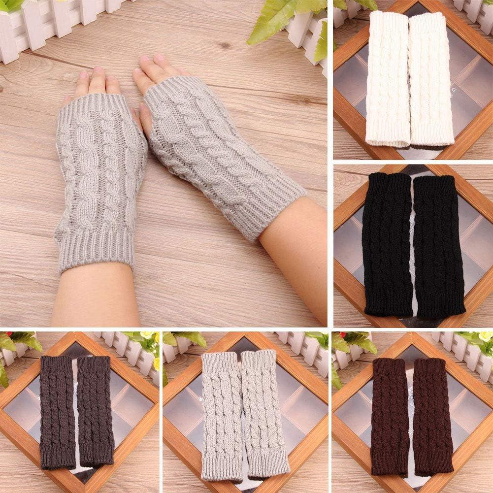 Fashion Unisex Men Women Knitted Fingerless Winter Gloves Soft Warm Long Gloves Solid Mitten - (Color: Black)