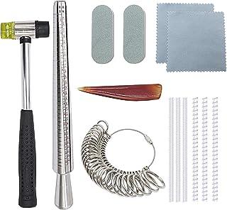 Baguier Niupika pour mandrin de Lot de fabrication de bijoux outils, y compris de joaillerie en caoutchouc Marteau, doigt ...