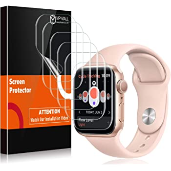 MP-MALL (6 pack) Screen Protector For Apple Watch 44mm Series 5/4, Bubble-Free HD Clear Flexible Film