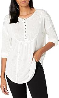NINE WEST womens Brinne Roll Slv Henley Henley Shirt