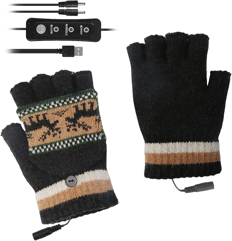 ROSEBEAR USB Heated Gloves for Women Men, Hand Warmer Gloves, Full Half Hands Heated Fingerless Gloves Mitten Washable Design
