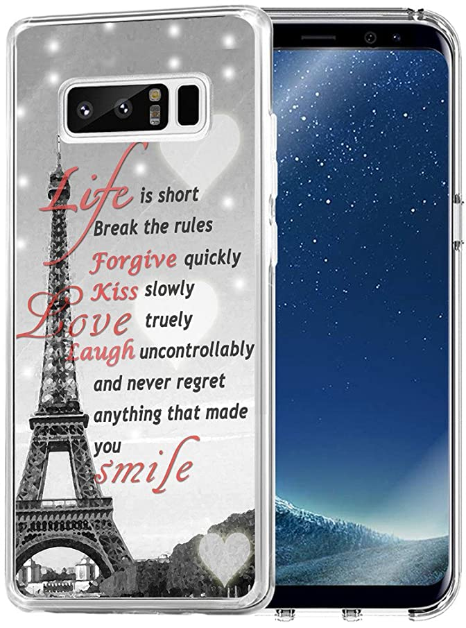Case for Note 8 - Topgraph [Soft TPU Slim Fit Clear with Design] Compatible for Samsung Galaxy Note 8 Protective Cover Eiffel Tower Durable