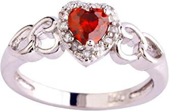 Veunora Jewelry 925 Sterling Silver Created Ruby Spinel Filled Dainty Heart Love Ring for Women