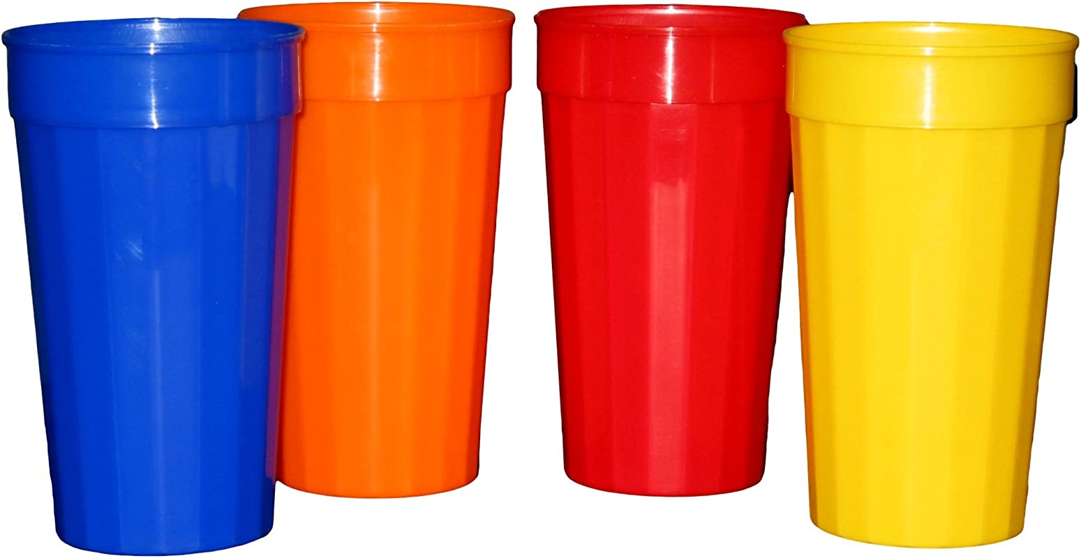 Plastic Fluted Drinking Tumblers Large 32 Ounce Pack 12 3 Each Red Blue Orange Yellow