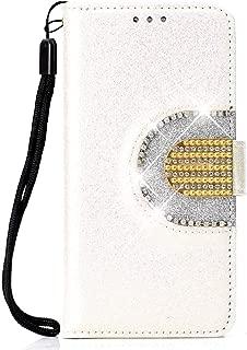 Huawei P Smart キラキラ ケース, CUNUS 高品質 合皮レザー 柔軟 ケース 軽量 スタンド機能 耐汚れ カード収納 カバー Huawei P Smart 用, ホワイト
