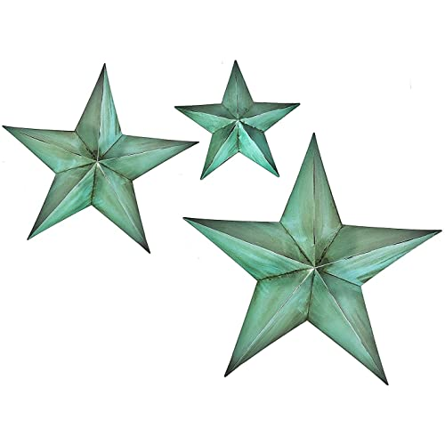 Bellaa Metal Star Wall Decor Set of 3 Greenblue (12