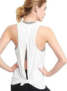 Women's Cute Yoga Tank Top Tie Back Activewear Workout Shirt