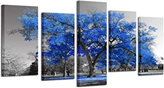 Kreative Arts Canvas Print Wall Art Painting Contemporary Blue Tree in Black and White Style Fall Landscape Picture Modern Giclee Stretched and Framed Artwork