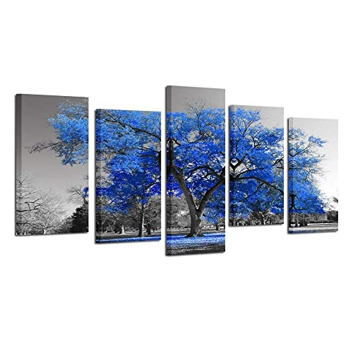 2185bc59e22 Kreative Arts Canvas Print Wall Art Painting Contemporary Blue Tree in  Black and White Style Fall