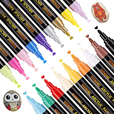 Stylos à Peinture Acrylique,YITHINC 18 CouleursMarqueurs pour Faire de la Peinture sur de la Roche,de la Céramique,de la Porcelaine,du Verre,des Pierres Cailloux,du Tissu,de la Toile,du Bois